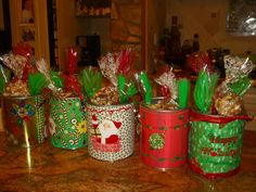 Decorated Empty Paint Cans As Centerpieces or Gift Holders