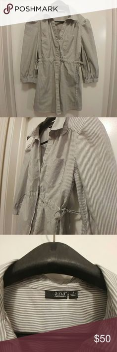 A.N.A Button Up Shirt Perfect, like new condition! Totally adorable 98% cotton 2% spandex blue and white striped a.n.a button up shirt. Elbow length sleeves, double breast pockets, size 8. The sides can be tightened for a figure flattering hug or kept loose for a more casual approach. Message me with any questions! a.n.a Tops Button Down Shirts