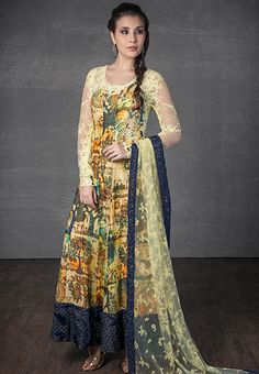 Digital printed georgette and chantilly lace kurta with net dupatta