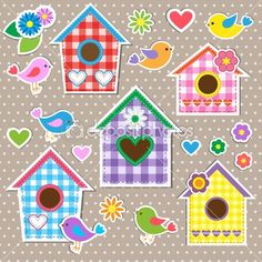 Birdhouses,birds and flowers by Marta17 - Stock Vector