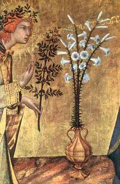 Simone Martini, Annunciazione,  dettaglio