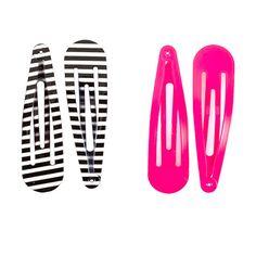 Oh Snap! Clip Set - Black/White Stripe & Neon Pink