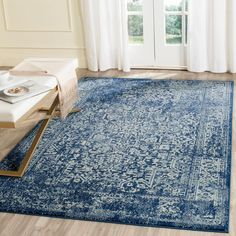 Evoke Navy/Ivory (Blue/Ivory) 6 ft. 7 in. x 9 ft. Area Rug