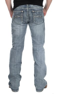 Rock & Roll Cowboy Men's Medium Vintage Wash Abstract Curved Embroidery Pistol Regular Fit Jean