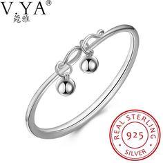 V.Ya Pure 925 Sterling Silver Bracelet for Women Fine Double Balls Charm Jewelry Bracelets & Bangles Chain Silver Wedding Gifts