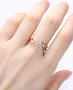 Diamond Cluster ring Twig Engagement Ring Rose Gold Floral