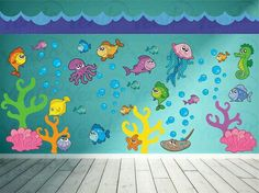 Ocean Wall Decal - Fish Wall Decal - Under the Sea Wall Deca.- Ocean Wall Decal – Fish Wall Decal – Under the Sea Wall Decal - Decoration Creche, Class Decoration, School Decorations, Sea Decoration, Kids Wall Decals, Kids Stickers, Vinyl Wall Art, Church Nursery, Sea Theme