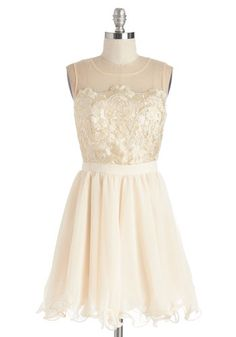 All the Time in the Swirls Dress by Chi Chi London - WPI, Woven, Lace, Tulle, Gold, Lace, Prom, Wedding, Party, Holiday Party, Bride, Homecoming, Sleeveless, Cream, Embroidery, Ruffles, Scallops, A-line, Mid-length, Sheer, Scoop