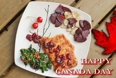 "Happy Canada Day!!! Here's a special Canadian meal of ""Not-Beaver Beaver Tail"" (Pork Schnitzel) & Maple Cherry Sauce with ""Canada Flag Beets"" and beet leaf."
