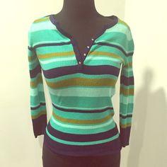 Bebe striped stretchy green navy top rhinestone Cute Bebe top bebe Tops