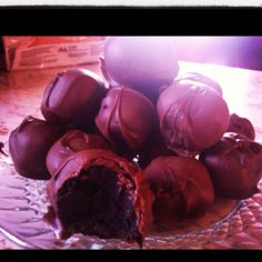 Oreo cookie cream cheese truffles. I made these this afternoon thanks to Pinterest for the recipe.