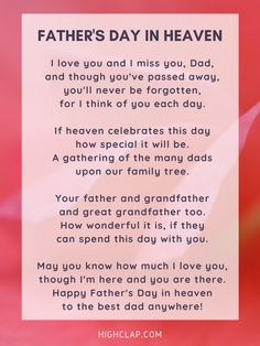 Happy Fathers Day Poems, Fathers Day In Heaven, Father Poems, Dad Poems, Diy Father's Day Gifts, Father's Day Diy, Heaven Poems, Short Poems, Good Good Father