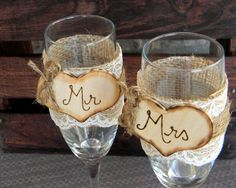 Mr. & Mrs. Glasses Champagne Flutes Rustic Woodland Shabby Chic. $28.00, via Etsy.