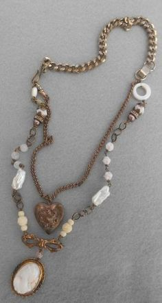 Vintage Repurposed Heart Locket w Angel Skin Cameo, Pearl Rosary Funky Jewelry, Recycled Jewelry, Dainty Jewelry, Antique Jewelry, Vintage Jewelry, Handmade Jewelry, Handmade Headbands, Handmade Rugs, Handmade Crafts