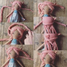 Another hair tutorial! This is for the twisted half up look. If you braid instead of twist that works just as well!! 1- twist a small segment of yarn hair at the top of each side of the head 2- cross them behind the back of the head 3/4- cross around the front of the head 5- flip the doll over 6- tuck ends into the already twisted hair 7- voila! 💗💗💗