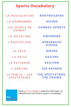 Impress your French sports buddies by speaking sports terms in #French. It'll help you in learning French too. + download the list in PDF format for free! Get it here: https://www.talkinfrench.com/french-sports-vocabulary/
