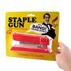 Looks like a gun, sounds like a gun. Be the James Bond of your office. Staple Gun, Stapler, Sound Effects, James Bond, Bigbang, Guns, Weapons Guns, Revolvers, Weapons
