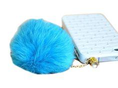 Rabbit Fur Ball 3.5mm Earphone Jack Dust Plug Ear Cap for iPhone 5 iPad Mini