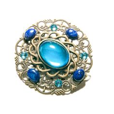 Barrette pince-mèche bronze, verre, lapis lazuli et cristal de Swarovski