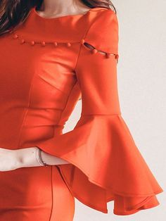 Round Neck Plain Bodycon Dress - All About Kurti Sleeves Design, Sleeves Designs For Dresses, Kurta Neck Design, Dress Neck Designs, Sleeve Designs, Neck Designs For Suits, Kurta Designs, Blouse Designs, Plain Kurti Designs