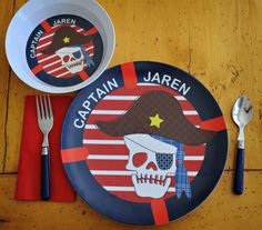 "Your little one will love sitting down to eat with their very own personalized dish. Each unique design features their name on either a plate or bowl. Font style is as shown.10"" diameter plate12 oz bowl mini set - 8"" diameter plate + 8 oz bowlCrafted of melamine  BPA-free Dishwasher-safeNot for microwave useMade in the USAAt checkout please include child's (10 character max) name to ""Note To Seller"""