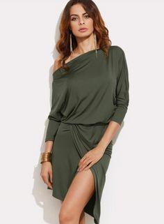 One Shoulder Long Sleeve Solid Irregular Dress novashe.com