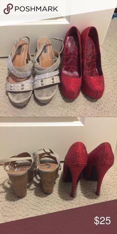Rhine stone pumps & cork/rhinestone/stud wedges Pleaser brand red pumps and DSW wedges. Some Missing rhinestones and worn. Shoes Heels