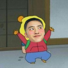 low quality of EXO edit as sinchan ˘ ³˘ Kyungsoo, Chanyeol, Baby Faces, Kpop Drawings, Exo Memes, Exo Kai, Big Bang Top, Baby Cartoon, Funny Art