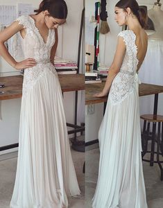 Vintage lace beading bridal gowns 2017 simple A line V neck v backless sweep train wedding gowns - Wedding Dress - Brautkleid Second Hand Wedding Dresses, Wedding Dress Train, Wedding Dress Chiffon, Lace Dress, Bobo Wedding Dress, Wedding Dress Petite, Wedding Dress Sheath, Dhgate Wedding Dress, Causal Wedding Dress