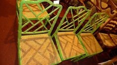Islington Criterion Auction Lot No: 728 - Estimated Price: £80.00 - £120.00A set of four green painted Chippendale style faux bamboo dining chairs circa 1970's with caned seats in