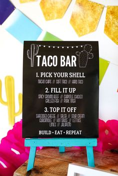 Delicious Fiesta Taco Bar ideas and decorations! For Tex Mex, Cinco de Mayo and all fabulous fiestas! Get editable Taco Bar signs, cactus decorations, 4 different types are fiesta party garlands and f Mexican Fiesta Party, Fiesta Theme Party, Mexican Bar, Party Time, Ideas Party, Drunk Party, Work Party, House Party, Sweet Sixteen