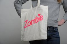 Tote Bag Zombie Natural / Neon pink by WetDream on Etsy, €12.00 /$16.25