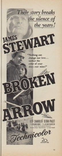 "Description: 1950 BROKEN ARROW MOVIE vintage print advertisement ""starring James Stewart"" -- Their story breaks the silence of the years! ""Nothing can change our love ... neither the color of your skin -- nor mine!"" -- Size: The dimensions of the half-page advertisement are approximately 5.25 inches x 14 inches (13.25 cm x 35.5 cm). Condition: This original vintage half-page advertisement is in Excellent Condition unless otherwise noted ()."