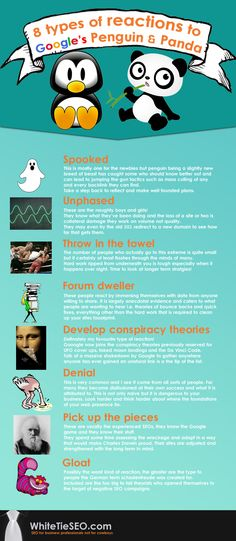 8 types of reactions people generally trying after hit by penguin panda Penguin World, Google Penguin, Throw In The Towel, Content Marketing Strategy, Conspiracy Theories, Seo Services, Internet Marketing, Penguins, Nerd