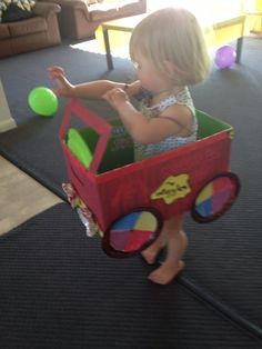 Nappy box transformed into the big red car. Wiggles Birthday, Wiggles Party, The Wiggles, Birthday Box, 2nd Birthday Parties, Birthday Celebration, Birthday Ideas, Emma Wiggle Costume, Purple Party