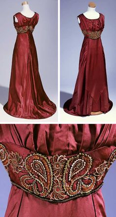 Evening dress, ca. 1909-13. Wine-colored satin trimmed with appliquéd waistband and high lace collar. Worn by Mrs. W.W. Kitchin when her husband was governor of North Carolina. North Carolina Museum of History