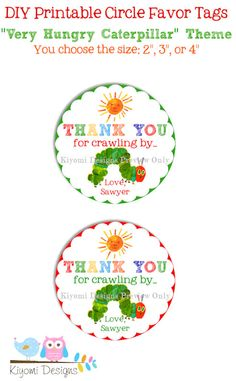 The Very Hungry Caterpillar Themed Circle Favor Tags by Kiyomi Designs, $6.50