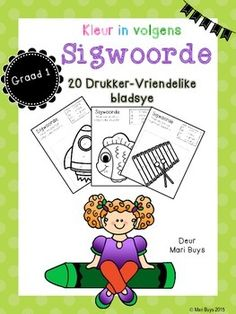 Afrikaanse Sigwoorde Graad 1 Kleur In! Afrikaans Language, Spelling Words, Teaching Writing, Kids Education, Pre School, Phonics, Preschool Activities, Kids Learning, Literacy