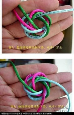 Great knot - not in English, but the pix are clear Macrame Toran, Macrame Bag, Macrame Knots, Decorative Knots, Rope Knots, Paracord Bracelets, Bracelet Tutorial, Diy Jewelry, Diy And Crafts