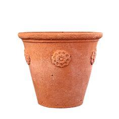 Small terra cotta pot with rosettes. x Code: II x Code: IIa Frost proof Italian terracotta. Handmade in Impruneta, Italy. Planter Boxes, Planters, Large Pots, Terracotta Pots, Clay Pots, Rosettes, Artisan, Pottery, Ceramics