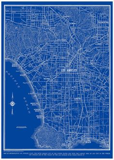 1938  Los Angeles Street Map Vintage Blueprint 16x20 by TheMapShop on Etsy