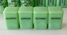 "Jeannette Jadeite Green 4 Piece Mini 3"" Spice Jars Canisters ~ Allspice Ginger +"