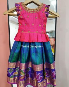 Kids blouse designs - Image may contain people standing Kids Party Wear Dresses, Kids Dress Wear, Kids Gown, Dresses Kids Girl, Kids Wear, Baby Dresses, Kids Outfits, Baby Girl Dress Patterns, Baby Dress Design