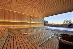 Sauna mit Panoramafenster im Badehaus