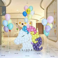 Unicorn children's parties for girls with incredible ideas Unicorn Themed Birthday Party, Baby Girl Birthday, Unicorn Party, 1st Birthday Parties, Unicorn Balloon, Party Decoration, Balloon Decorations, Birthday Decorations, Rainbow Parties