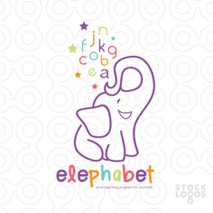 Unique, beautiful, Happy, cute, full of joy and attraction logo and name. This elephant logo combines between elephant and alphabet.( alphabet, alphabetical, letters, learn, education, kindergarten, colorful ).