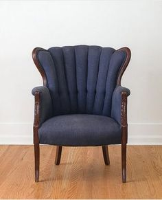 CHAIR ENVY. Vintage Navy Silk Channel Back Wing Chair via HomesteadSeattle.
