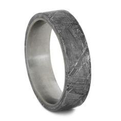 Unique Titanium Ring with Gibeon Meteorite Overlay Meteorite Ring