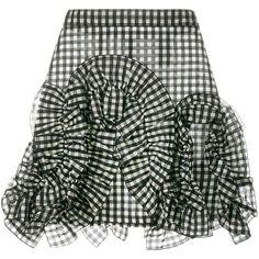 MSGM gingham ruffle mini skirt ($290) ❤ liked on Polyvore featuring skirts, mini skirts, black, frilly skirt, checkered mini skirt, high waisted short skirts, ruffle skirt and flouncy skirt