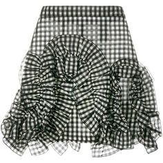 MSGM gingham ruffle mini skirt ($290) ❤ liked on Polyvore featuring skirts, mini skirts, black, frilly skirt, checkered mini skirt, high waisted short skirts, ruffle skirt and flouncy skirt